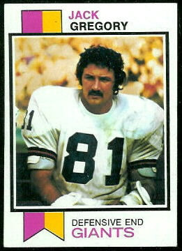 Jack Gregory 1973 Topps football card