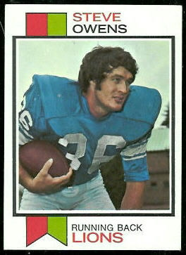 Steve Owens 1973 Topps football card