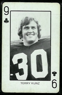 Terry Kunz 1974 Colorado Playing Cards football card