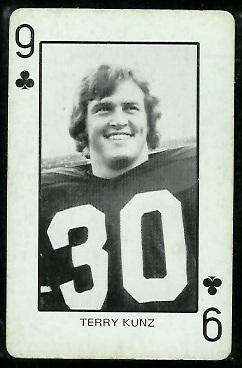 Terry Kunz 1974 Colorado Playing Cards football card