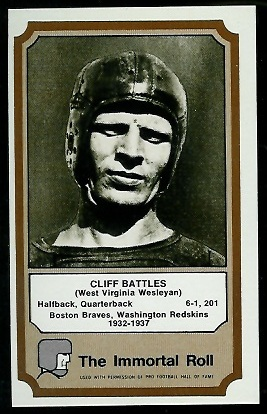Cliff Battles 1974 Fleer Immortal Roll football card