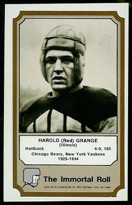 Red Grange 1974 Fleer Immortal Roll football card