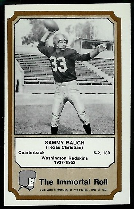 Sammy Baugh 1974 Fleer Immortal Roll football card