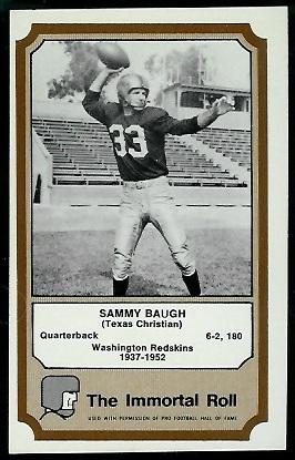 Sammy Baugh 1974 Fleer Immortal Roll football card
