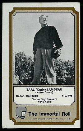 Curly Lambeau 1974 Fleer Immortal Roll football card
