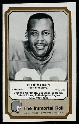 Ollie Matson 1974 Fleer Immortal Roll football card