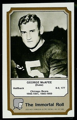 George McAfee 1974 Fleer Immortal Roll football card