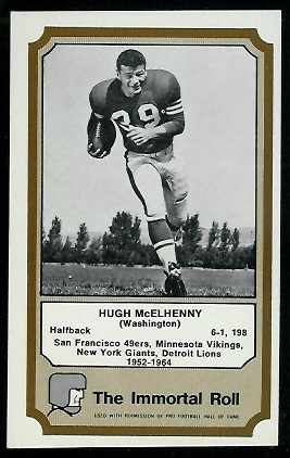 Hugh McElhenny 1974 Fleer Immortal Roll football card