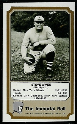 Steve Owen 1974 Fleer Immortal Roll football card