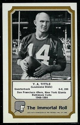 Y.A. Tittle 1974 Fleer Immortal Roll football card