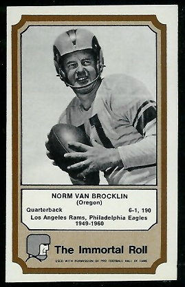 Norm Van Brocklin 1974 Fleer Immortal Roll football card