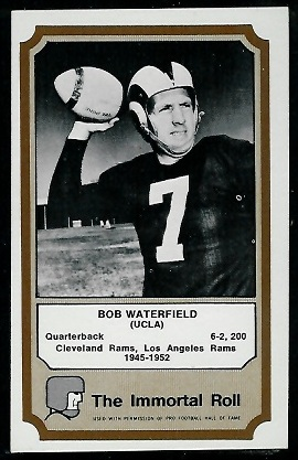 Bob Waterfield 1974 Fleer Immortal Roll football card