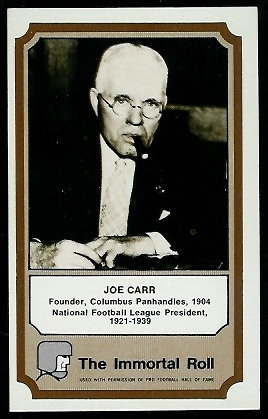 Joe Carr 1974 Fleer Immortal Roll football card