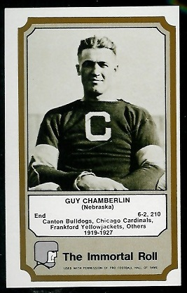 Guy Chamberlin 1974 Fleer Immortal Roll football card