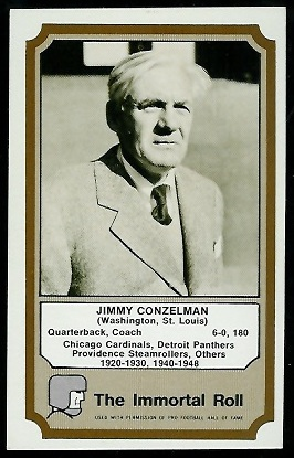 Jimmy Conzelman 1974 Fleer Immortal Roll football card