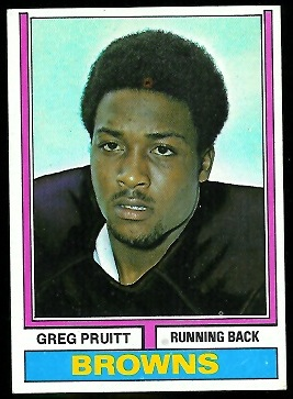 Greg Pruitt 1974 Parker Brothers football card