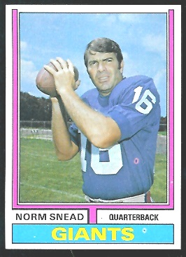 Norm Snead 1974 Parker Brothers football card
