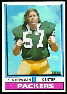 Ken Bowman 1974 Parker Brothers football card
