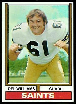 Del Williams 1974 Parker Brothers football card