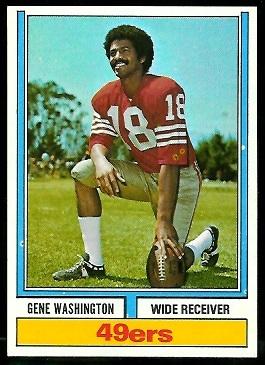 Gene Washington 1974 Parker Brothers football card