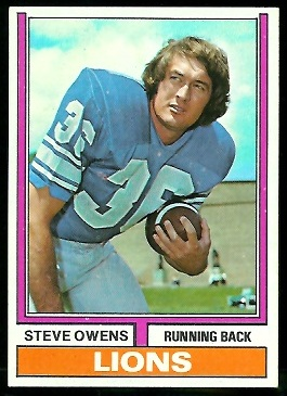 Steve Owens 1974 Parker Brothers football card