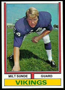 Milt Sunde 1974 Parker Brothers football card