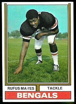 Rufus Mayes 1974 Parker Brothers football card