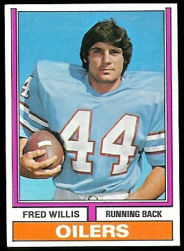 Fred Willis 1974 Parker Brothers football card