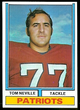 Tom Neville 1974 Parker Brothers football card