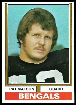 Pat Matson 1974 Parker Brothers football card