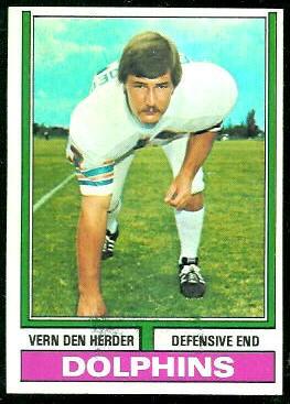 Vern Den Herder 1974 Topps football card