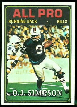 O.J. Simpson All-Pro 1974 Topps football card