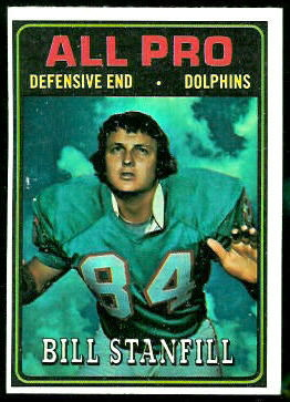 Bill Stanfill All-Pro 1974 Topps football card