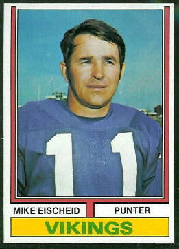 Mike Eischeid 1974 Topps football card