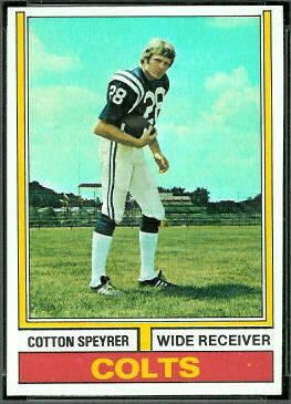 Cotton Speyrer 1974 Topps football card
