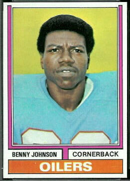 Benny Johnson 1974 Topps football card