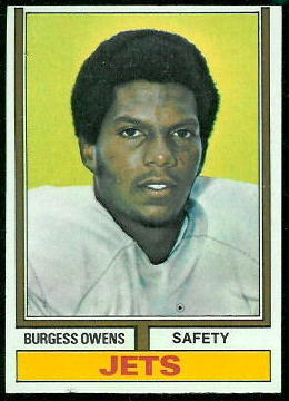 Burgess Owens 1974 Topps football card