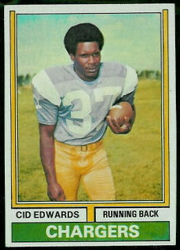 Cid Edwards 1974 Topps football card