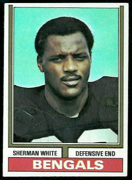 Sherman White 1974 Topps football card