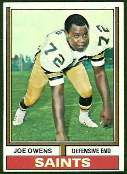 Joe Owens 1974 Topps football card