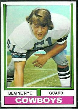 Blaine Nye 1974 Topps football card