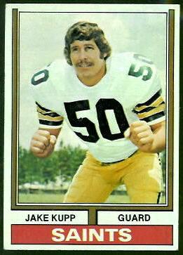 Jake Kupp 1974 Topps football card