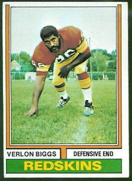 Verlon Biggs 1974 Topps football card