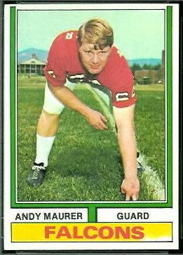 Andy Maurer 1974 Topps football card
