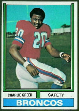 Charlie Greer 1974 Topps football card