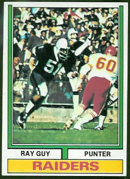 Ray Guy 1974 Topps football card