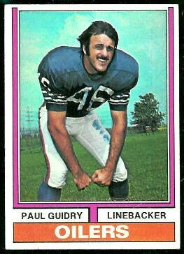 Paul Guidry 1974 Topps football card
