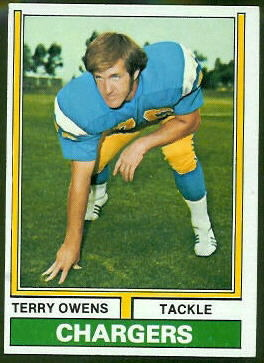 Terry Owens 1974 Topps football card