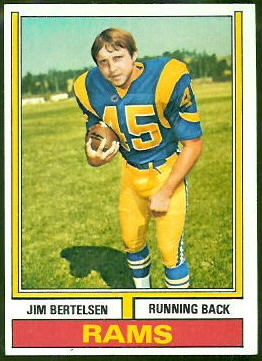 Jim Bertelsen 1974 Topps football card