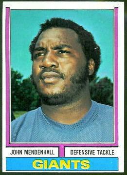 John Mendenhall 1974 Topps football card